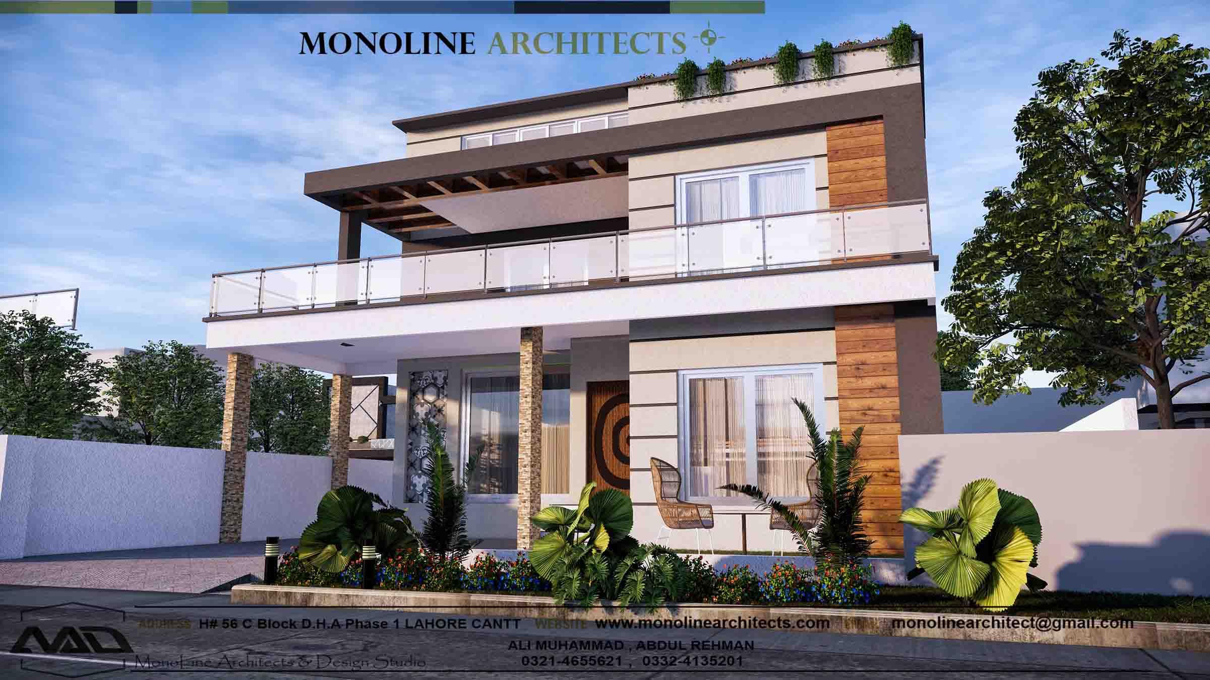 1 kanal house design left elevation by monoline architects
