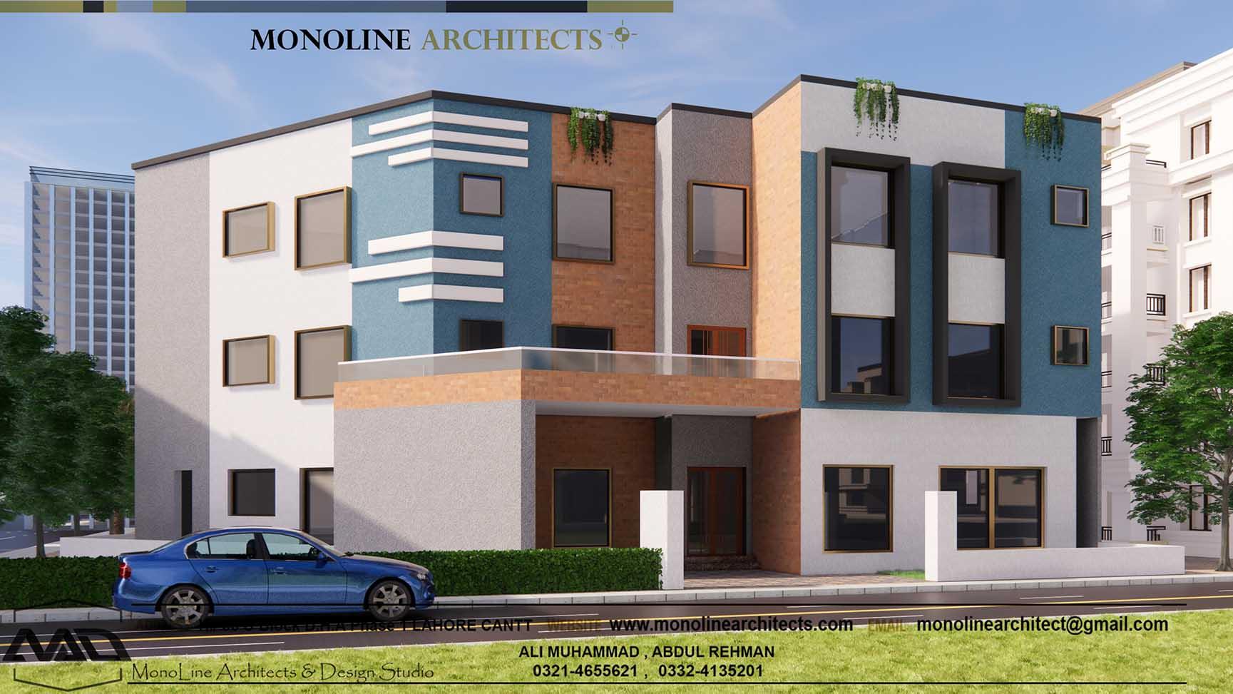 Hostel elevation 0 by monoline architects