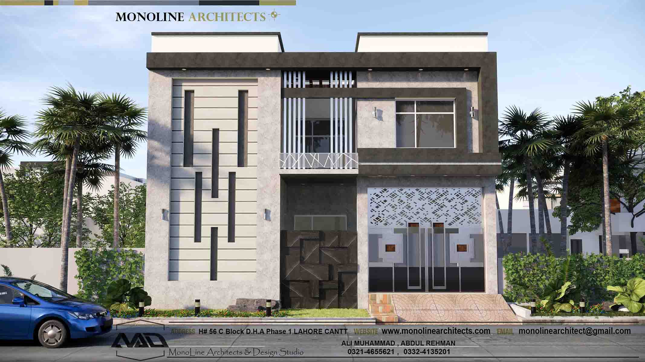 5 marla house kasoor by monoline architects