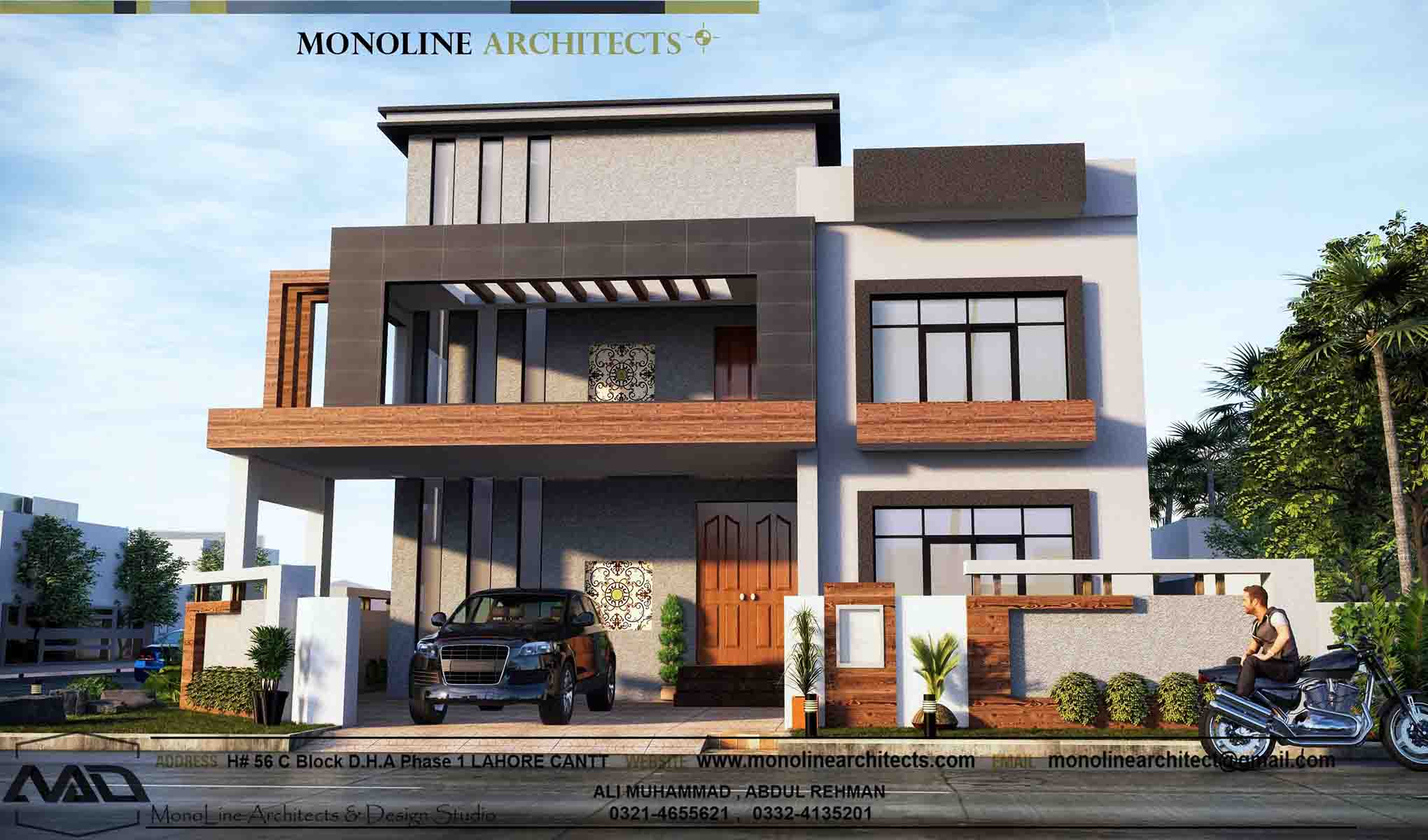 1 kanal luxury house front by monoline architects